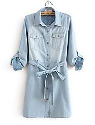 Vestido De las mujeres Casual - Algodón