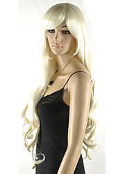 Extral Long Women's Excellent Light Blonde Cosplay Wig with Side Bang