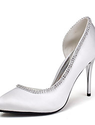Satin Women's Wedding Stiletto Heel Pumps with Rhinestone Shoes(More Colors)