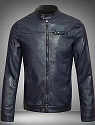 clássicas Gola jaquetas de couro fino dos homens