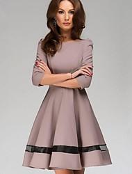 vestido de traje de nuevo la bola del color sólido de las señoras de la moda de las mujeres