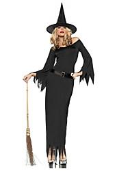 Costume Halloween spaventoso strega donne nere poliestere