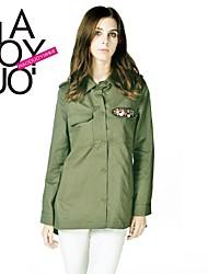 exército gola polo verde de manga longa casaco de trincheira das mulheres haoduoyi®