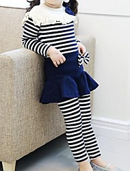 Girl's Phi Blind Striped Two-Piece Suit Culottes Clothing Sets