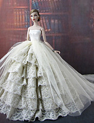 Barbie Doll Angel Style Pure White Wedding Party Dress