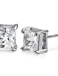 Unisex Silver Stud Earrings With Cubic Zirconia