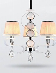 Fabric Chandelier 3 Light  High-Grade  Lamp White Jade Silver Ring