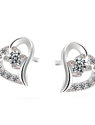 Stud Earrings Sterling Silver Fashion White Purple Jewelry 2pcs