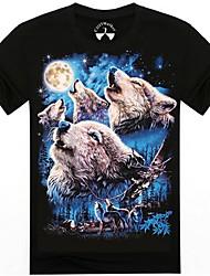 o-cou les 3d t-shirt à manches courtes imprimés des hommes loups d'été animales