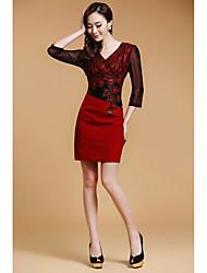 dlbn vestido bodycon encaje de la moda de las mujeres