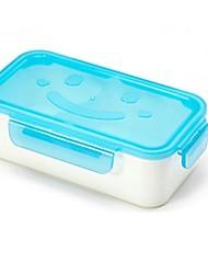 Smiling Faces Rectangular Lunch Box,Plastic 16.5×8.5×8.5 CM(6.5×3.3×3.3 INCH)