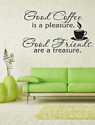 настенные наклейки наклейки на стены, кофе английских слов&цитирует наклейки стены PVC