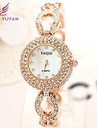 yaqin® mujeres de la marca de lujo de relojes de moda de oro rosa de diamantes de imitación de cuarzo relojes (colores surtidos)