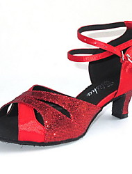 Customizable Women's Dance Shoes Latin/Ballroom Satin/Sparkling Glitter Customized Heel Red