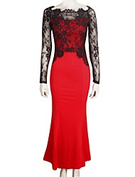 Women's Lace Red Dress , Casual/Lace/Maxi Round Neck Long Sleeve