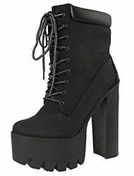 Women's Shoes  Platform  Round Toe Chunky  Heel  Ankle  Boots with Zipper