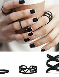 Korean Fashion Trendsetter Matte Black Joint Ring 3pcs/set