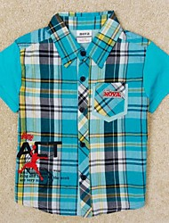 kindermode t-shirt kinderen jongens mode plaid turn-down kraag korte mouwen katoenen t-shirt jongens tees