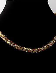 Lust 18k vergoldet klobige Halsband Halskette Kette Mehrfarbenrhinestonekristall für Frauenqualität