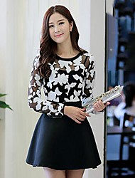 Women's Print Black/Orange Dress , Lace Round Neck Long Sleeve