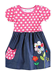 Girl's Dresses Children Tutu Princess Dress Summer Party with Flowers Polka Dots Dress for Girls Children Dresses