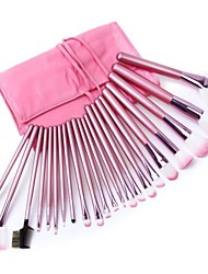 22pcs Professional Makeup Set Cosmetic Brush Kit Makeup Tool Make up Brushes with Pink Roll up Leather PU Bag