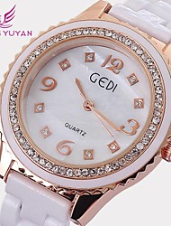 GEDI® Luxury Brand Women Watches Fashion Rose Gold Rhinestone White Ceramic Band Quartz Watches Women(Assorted Colors) Cool Watches Unique Watches
