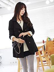 coreano moda portão leste dupla jaqueta longa peito das mulheres