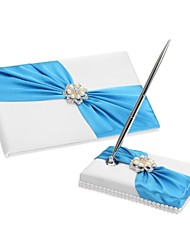 Elegant Wedding Guest Book And Pen Set With Blue Sash & Pearls Sign In Book Peacock Wedding