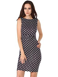Moon Sunday Women's Sexy Dot Bodycon Dress(With Belt)