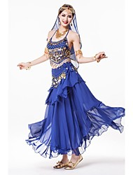 Belly Dance Stage Performance Outfits with Skirt Indian Style Costume-Set of 4(More Color)
