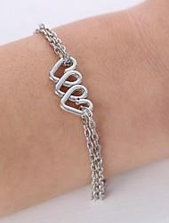 Unisex's Fashion Heart Alloy Charm Bracelet(Silver,Golden)(1 Pc)