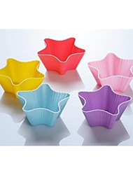 5PCS Bakeware High Quality Silicone Star Baking Molds Muffin Cup Color Random