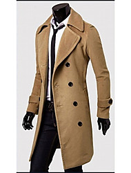 sólido pescoço cor lapela casaco de tweed mama dupla masculina romeo