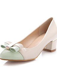 Women's Shoes Patent Leather Chunky Heel Pointed Toe Pumps with Bowknot Shoes Dress More Colors available