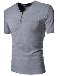 Men's V Neck Buttons Decorative Slim Short Sleeved T-Shirt