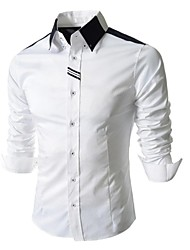 Men's Long Sleeve Shirt , Cotton/Polyester Work/Formal Pure