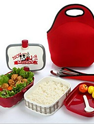 boîte à double-couche peut déjeuner micro-ondes boîte à lunch, en plastique 18,5 × 13,5 × 14 cm (7,3 × 5,4 × 5,6 pouces)
