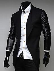 ouer couro pu homens casuais emendar casaco fino
