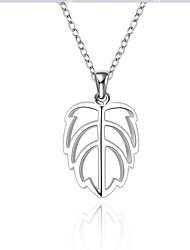 Fashion Style 925 Sterling Silver Jewelry Hollow Leaf Pendant Necklace for Women