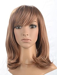 Capless Medium Length  Synthetic Wig with Side Bang