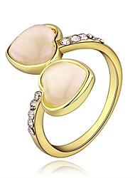 Double anneau bande de coeur de diamant environnement plaqué or 18 k (plus de couleurs)
