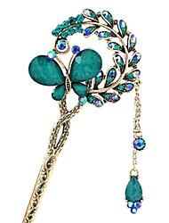 Imitation retro butterfly love diamond hairpins