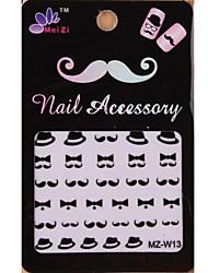 1PCS Cartoon Mustache Style Nail Art Stickers MZ Series MZ-W13