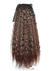 Tie Long Women Corn Roll Wavy Ponytails (Dark Brown)