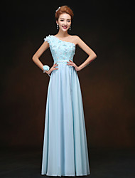 Floor-length Bridesmaid Dress - A-line One Shoulder with