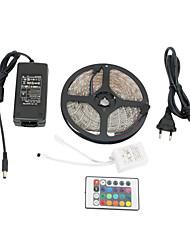 5m impermeável 300x3528 smd rgb conduziu a luz de tira com controle remoto de 24 botões e colocar o adaptador AC (100-240)