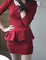Medio - Vestido - Casual - Tejidos
