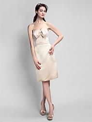 Knee-length Satin Bridesmaid Dress - Champagne Sheath/Column Sweetheart