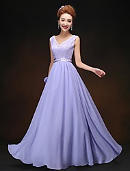 Floor-length Chiffon Bridesmaid Dress - Lace-up Sheath / Column V-neck with Lace